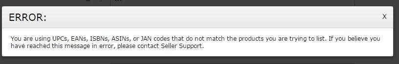 Amazon Error Code 5461