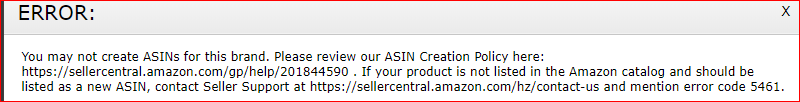 You may not create ASINs